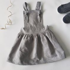 Toddler girl linen pinafore dress baby linen by BSimpleClothing