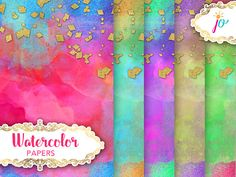 Watercolor Paper Digital Download gold confetti diamond gold Watercolor Background, Watercolor Paper, Make Your Own Card, Gold Confetti, Saturated Color, Paper Size, Textured Background, Gold Glitter, Backgrounds