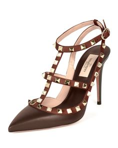 Valentino Rockstud Colorblock Leather Sandal, Morello/Crimson