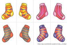 gebruik echte sokjes, paren zoeken, ophangen aan een wasdraad,...