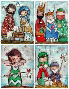 Resultado de imagen para figuras de tela de pesebre navideño estilizado
