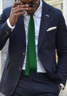 Shop this look for $148: http://lookastic.com/men/looks/white-dress-shirt-and-white-pocket-square-and-green-tie-and-navy-suit/3149 — White Dress Shirt — White Cotton Pocket Square — Green Knit Tie — Navy Suit