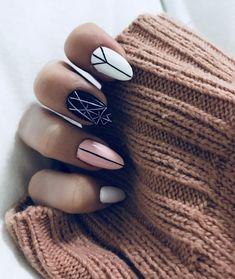 White nails, white almond nails, pink black nails, pink white, geometric na Pink Black Nails, White Almond Nails, White Nails, Pink White, Black White, Nagel Stamping, Minimalist Nails, Nail Swag, Nagel Gel