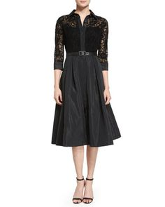 Lace Full-Skirt Belted Cocktail Shirtdress by Rickie Freeman for Teri Jon at Neiman Marcus.