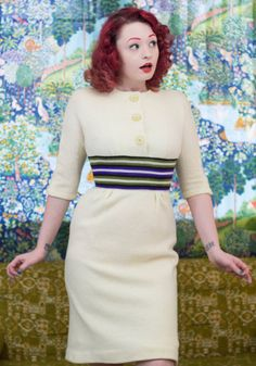 Vintage 1950 Cream Knit Wiggle Dress  XS by TrailerParkFlamingo