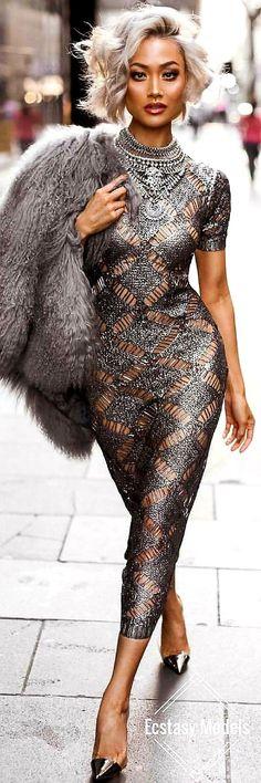 Silver Slay // Robe Hot Miami Styles // Look Fashion par Micah Gianneli - M . Miami Fashion, High Fashion, Womens Fashion, Dress Fashion, Ladies Fashion, Fashion Fashion, Style Miami, Sexy Dresses, Beautiful Dresses