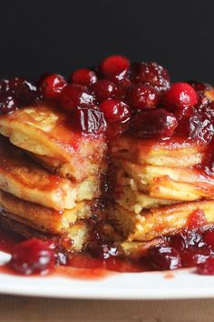 Eggnog Pancakes with Maple Cranberry Syrup