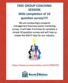 FREE coaching with completion of our 3 minute property management business owners survey. #free #coaching #consulting