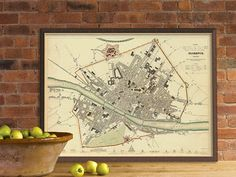 Florence map - Old map of Florence (Italy) - Firenze mappa - Fine print