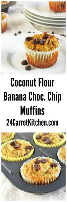 Click for the recipe to these Coconut Flour Banana Chocolate Chip Muffins!  grain free, gluten free, dairy free, paleo, coconut flour, banana, chocolate, breakfast, brunch 