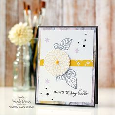 Simon Says Stamp Card Kit of The Month JULY 2016 HANDWRITTEN FLORAL GREETINGS CK716 zoom image