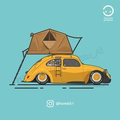KombiT1: VW Beetle Camper Yellow Low Flat Design