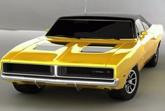 69 Dodge Charger - Yellow Car