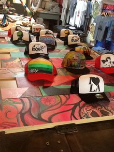 A collection of hats in store at #streetcraftLA