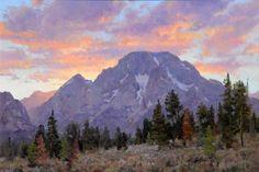 Moran's Crowning Glory: Original oil landscape painting art of sunset on Mount Moran in Grand Teton National Park by Prix de West Award winning artist and painter Jim Wilcox