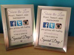 social media hashtag framed wedding sign also comes in glittered frames starting at only Trendy Wedding, Diy Wedding, Hashtag Wedding, Wedding Stuff, Wedding Ideas, Sister Wedding, Wedding Blog, Rustic Wedding, Dream Wedding