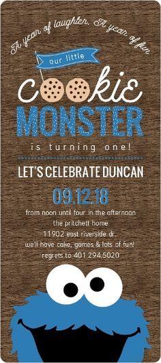 cookie monster photo first birthday invitations by purpletrail, Birthday invitations