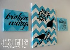 teal & white chevron w/ black details on canvas
