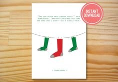 Dumbledore Socks Printable Christmas Card  by Danielle Robbins Designs