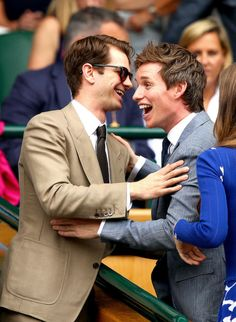 Andrew Garfield and Eddie Redmayne attend day 13 of Wimbledon 2017 on July 16, 2017 in London