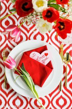Valentine Tablescape with Envelope Folded Napkin
