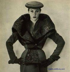 Fur trimmed suit by Paquin, 1951.