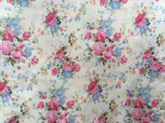 0-5m-Pink-Blue-Roses-on-White-Background-100-cotton-fabric-160cm-sewing-craft