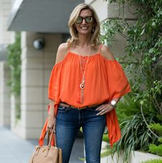 Last chance to save 15% off on our Tangerine cold shoulder top and Matt gold necklace both 15% off with code FS517 www.jacketsociety.com