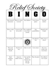 """Relief Society Birthday Bingo   smileifyou'rehappy  Get Relief Society Ideas at - www.MormonLink.com  """"I cannot believe how many LDS resources I found... It's about time someone thought of this!""""   - MormonLink.com"""