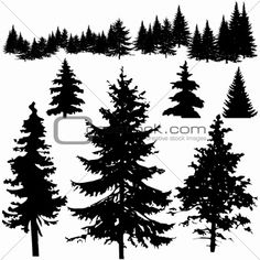 Detailed Vectoral Pine Tree Silhouettes