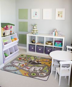 ~Toy Room Organisation~  Expedit units or units which hold baskets are perfect.  Separate the toys into categories and don't forget to label the baskets.  You could add a photo of what's in the basket so the kids can pack away.  (We can dream right?)
