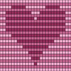 3d illusion afghan block pattern | Striped Op-Art Hearts Chart -- Free Printable Striped Op-Art Hearts ...