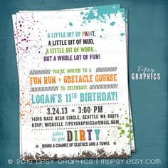 Down & DIRTy. Paint Ball. Color Run. Customized Birthday Party Invite by Tipsy Graphics. Any Text.