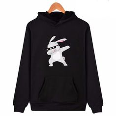 The Rabbit Dabbing Cool Mens Black Hoodie Sweatshirt Sportswear Jackets With Hoodies