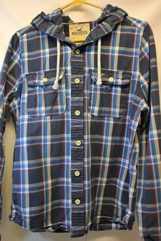 Hollister Mens Medium Plaid Checkered Hoodie Button Front Blue #Hollister #Hoodie