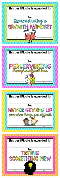 Growth Mindset Certificates *FREE* or make own Classroom Behavior, Future Classroom, Classroom Ideas, School Classroom, Social Emotional Learning, Social Skills, Social Work, Coping Skills, Behavior Management
