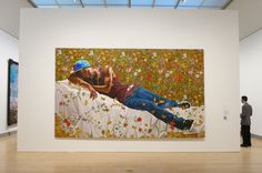 "New York artist Kehinde Wiley turns the tables on canonical western art history in paintings which substitute contemporary characters of African descent for European figures. Here, in a centerpiece of Wiley's current Brooklyn Museum exhibition, a young man plays the role of odalisque. (Through May 24th).Kehinde Wiley, installation view of 'Kehinde Wiley: A New Republic,"" Brooklyn Museum, February, 2015."