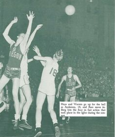 1945 Oregon State - Oregon basketball game at Mac Court. From the 1946 Oregana (University of Oregon yearbook). www.CampusAttic.com