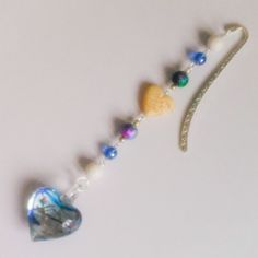 Blue and white glass heart bookmark  £5.50