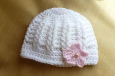 3 - 6 months White Crochet Beanie with Flower by AngieMade on Etsy, $14.00