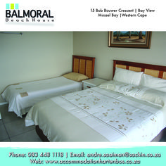 Here at Balmoral Beach House we have beautiful bedrooms for you to enjoy your stay with us. Call us at: 083 448 1118 E-Mail: andre.saaiman@sachin.co.za #accommodation #Hartenbos #Bedrooms