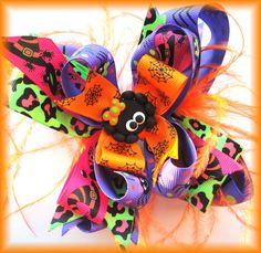 Halloween Itsy Bitsy Spider Over-the-Top Hair Bow Bow Spooky Leopard Feather on Etsy, $12.95