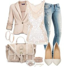 Cream blazer, cream sequin shirt, destroyed skinny jeans, light cream pointed pumps: lolo moda