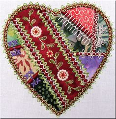 Crazy Quilt Embroidery by Machine | Simply Crazy Hearts Part 5