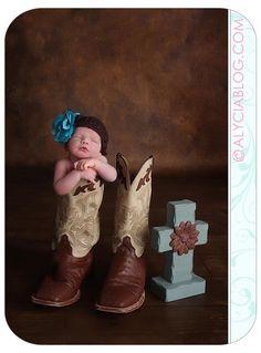 Adorable #newborn #cowboy (cowgirl, actually!) ❤️ DFW, Keller, Southlake photographer.  Newborn baby in cowboy boots