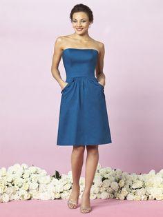 A-line Strapless Shirret Skirt Scalloped Edge Pockets Satin Bridesmaid Dress-wbm0123, $174.95