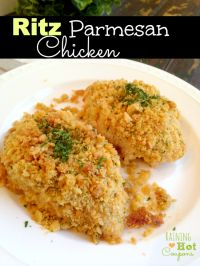 Ritz Parmesan Chicken Recipe on MyRecipeMagic.com. The perfect moist chicken for dinner tonight!!