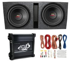 "2) Pyle 15"" PLPW15D Subwoofers + Vented Box + Lanzar 2 Channel Amp + Wiring Kit"