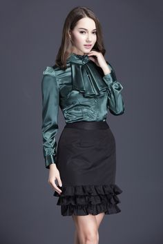 Ruffled satin blouse