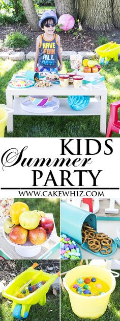 Lots of food, game and decorating ideas for a fun and easy KIDS SUMMER PARTY in your own backyard! This is a great party themes for birthdays too. {Ad} From cakewhiz.com